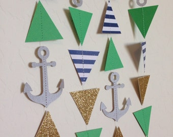 Mint and Metallic Triangle Garland. Geometric by APopofConfettiCo