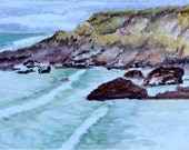 Fine Art Print of Pigeon Point North Beach, California - watercolor painting on archival art paper, or durable vibrant metal (#80013)