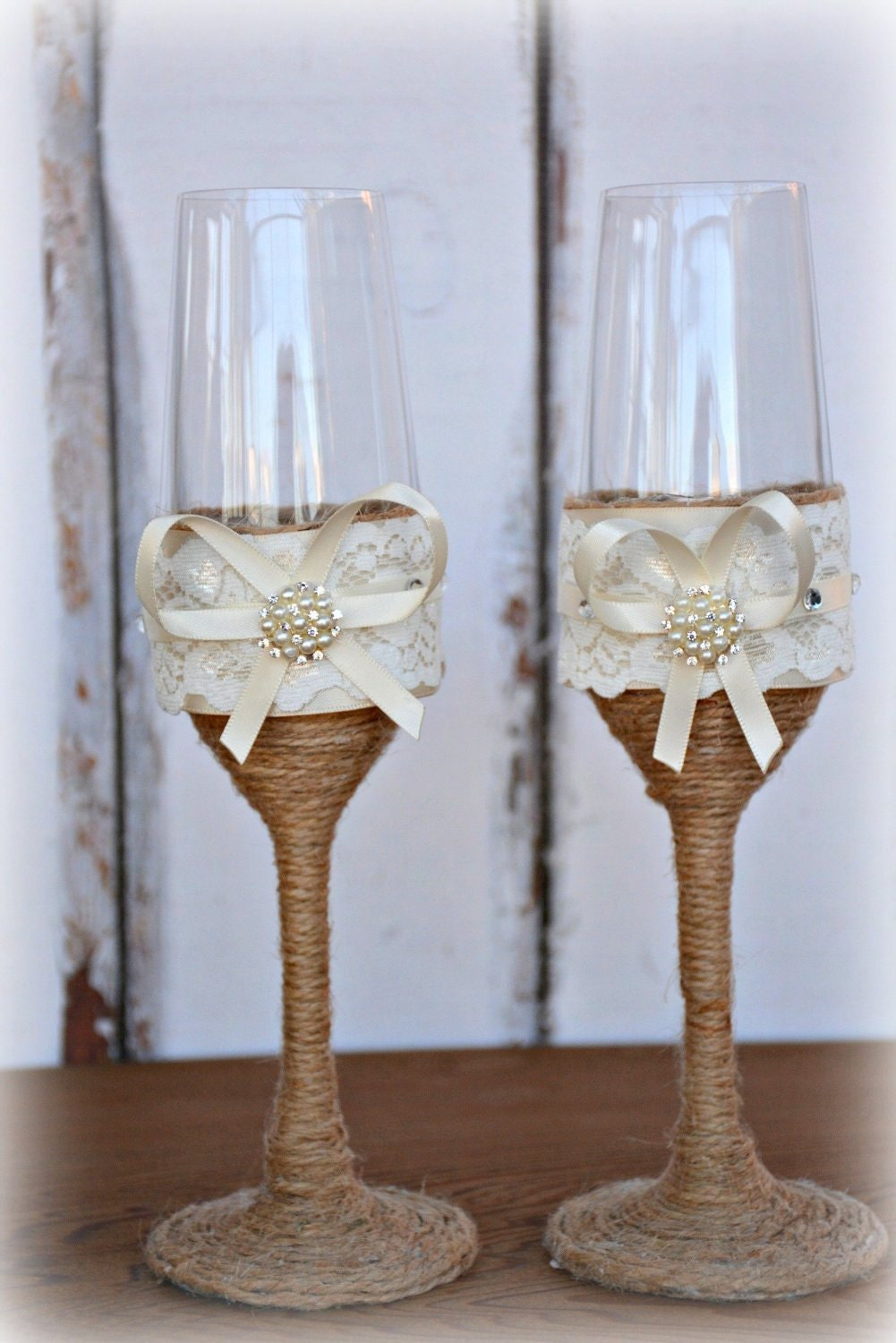 wedding champagne glasses bride groom flutes toasting rustic