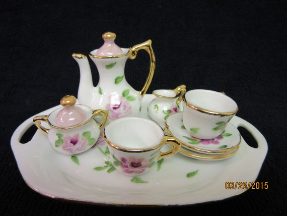 tea set miniature mini doll handmade set with tray. Black Bedroom Furniture Sets. Home Design Ideas