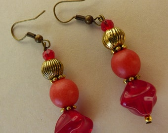 burgundy and gold earrings Earrings - Made in FRANCE
