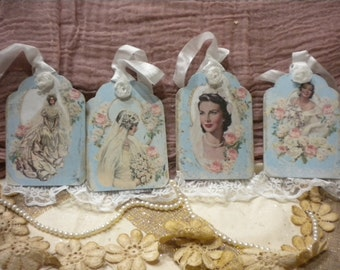 Vintage Bride Tags with Lace on Chipboard (4)