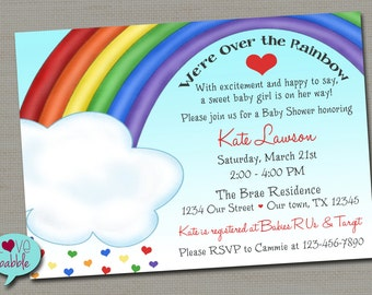 Rainbow Colorful Baby Shower Sprinkle, Birthday Party Invitation PRINTABLE DIGITAL FILE - 5x7