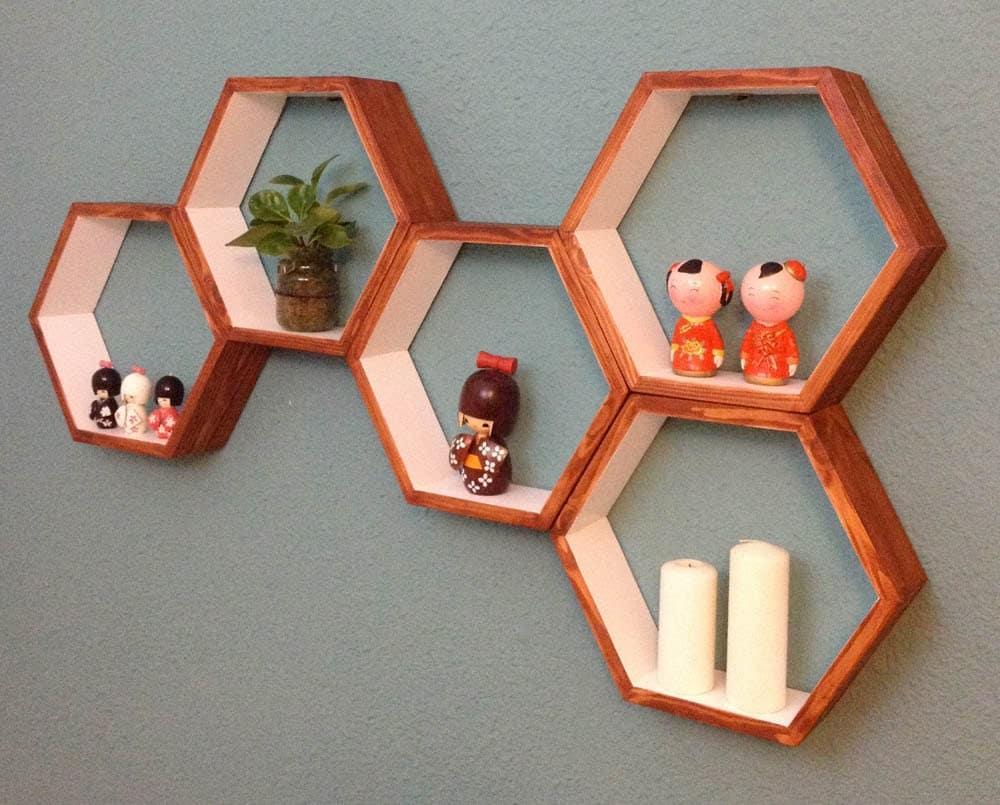 hexagonal shelves geometical shelves floating shelves. Black Bedroom Furniture Sets. Home Design Ideas
