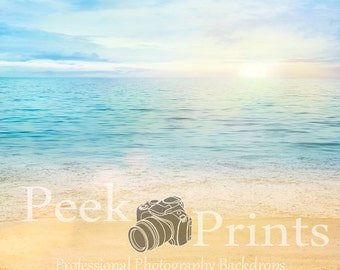 5ft.x5ft. Dreamy Beach- Sand and Water Vinyl Photography Backdrop