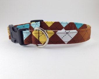 Argyle Dog Collar, Golfer Argyle Dog Collar, Handmade Dog Collar