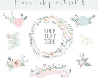 Floral clipart, wedding clipart,vector + PNG Digital Wreath,  Flowers, Ribbons, bunch, frame