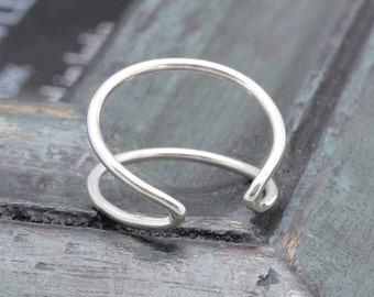 925 sterling silver open double line shell band ring , geometric ring, wedding gift, bridesband ring