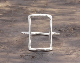 925 sterling silver big open rectangular hammered band ring, gift for her