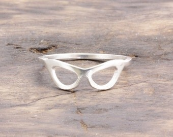 1.0 mm 925 stering silver smooth robin's mask ring (R_00046)