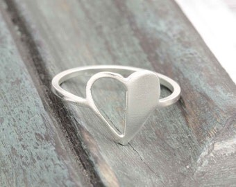 925 stering silver half side empty heart ring (R_00019)
