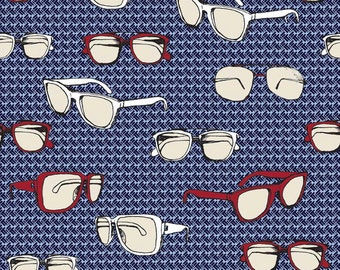 Riley Blake Sporty Glasses on Blue Cotton Fabric