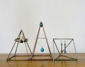 Geometric Sculptures - Set of 3 Pyramids in Antiqued Copper, Brass, and Silver - Made to Order