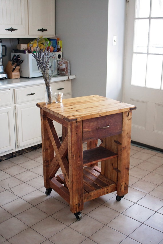 reclaimed wood kitchen island by uniqueindustry on etsy