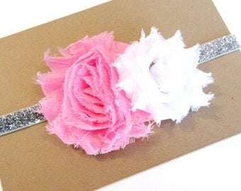 Baby Headband, Pink Headband, Baby Girl Headband, Flower Headband, Toddler Headband, Pink and White Headband, Headband Baby, Glitter Elastic