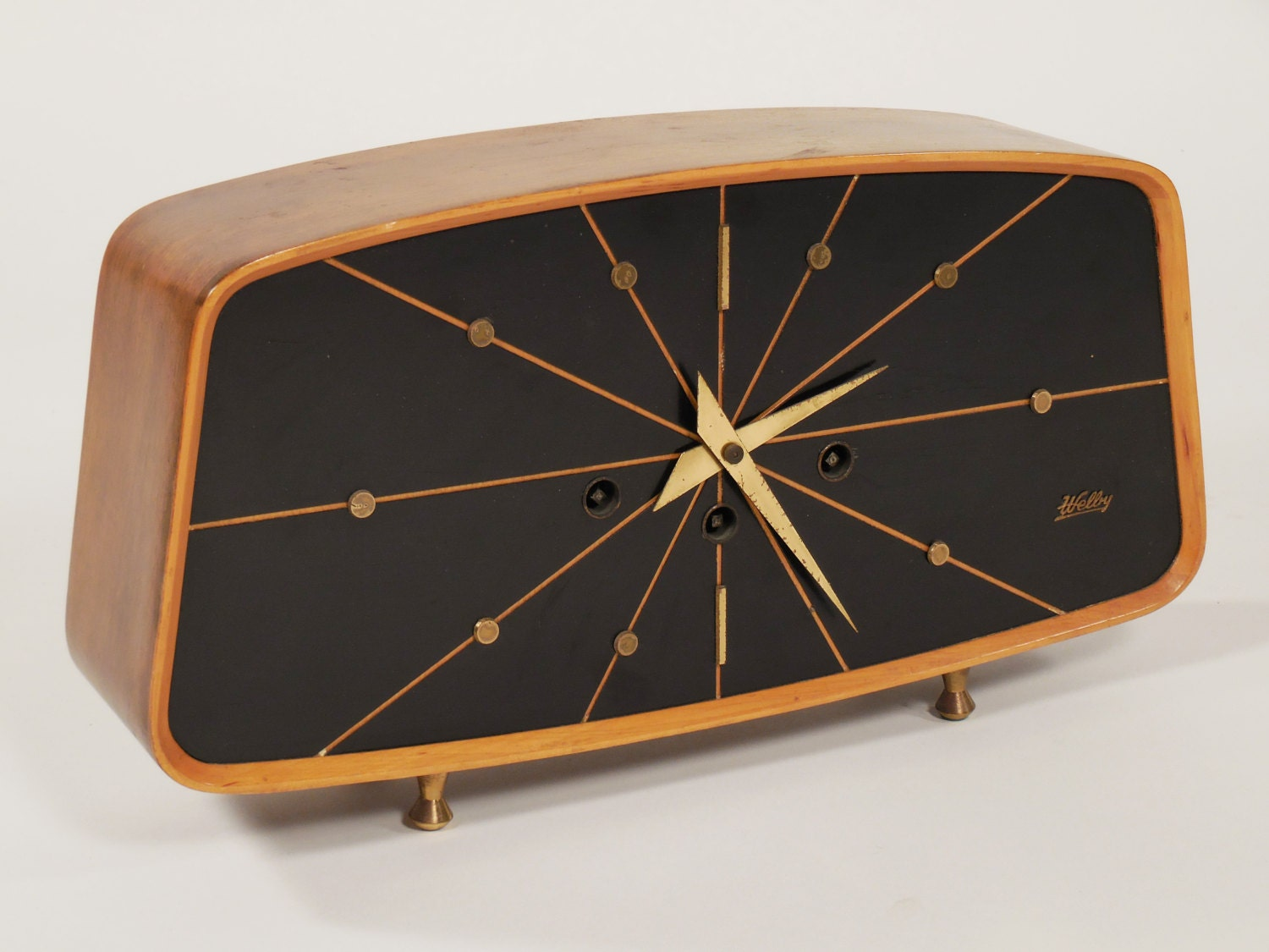 mid century modern welby mantle clock on hold. Black Bedroom Furniture Sets. Home Design Ideas