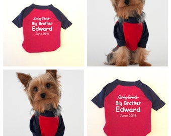 Personalized Dog Shirt Big Brother. Dog Clothes. Dog T Shirt. Custom Dog Clothes. Dog Clothing. Dog tshirt. Custom Dog Shirt. Dog Apparel.
