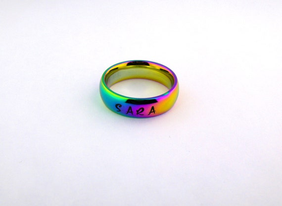 personalized stainless steel rainbow ring promise by