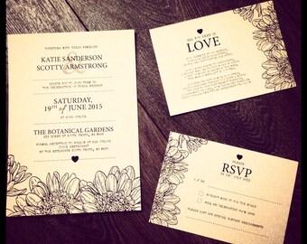 Custom Printable Wedding Invitation Set - Rustic Flower Design
