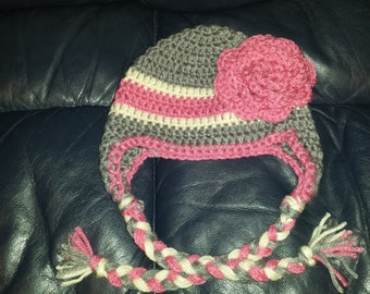 Cute Crochet Hat with Flower and Earflaps
