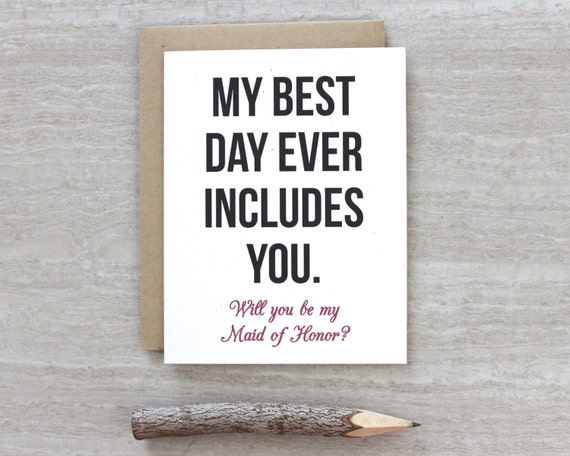How To Be The Best Maid Of Honor: Will You Be My Maid Of Honor Maid Of Honor Card By
