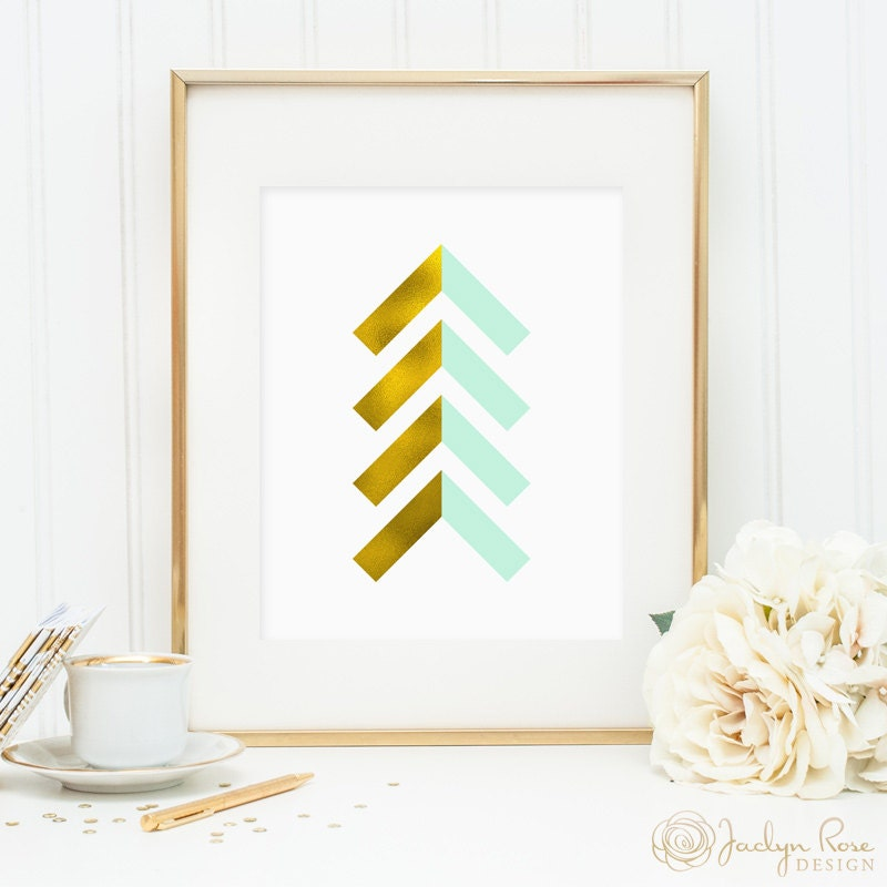 Arrows For Wall Decor : Gold foil and mint chevron arrows printable wall art decor