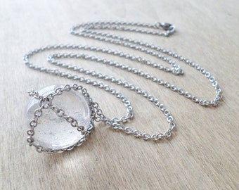 Chain Wrapped Clear Quartz Crystal Ball Necklace