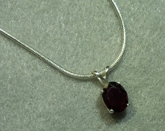 Garnet Sterling Silver Pendant-Deep Red and SS Snake Chain-16""