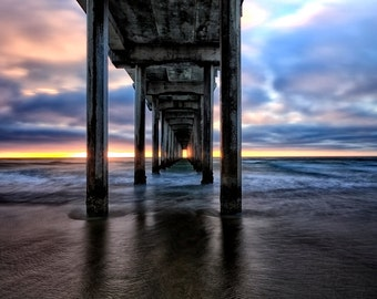 Pier into the Light, Color Photography, Scripps Pier photograph, Landscape Photography,