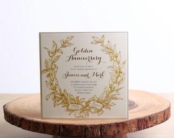 Wedding Anniversary Invitations, 50th Anniversary Invitations, Gold Anniversary Invitations