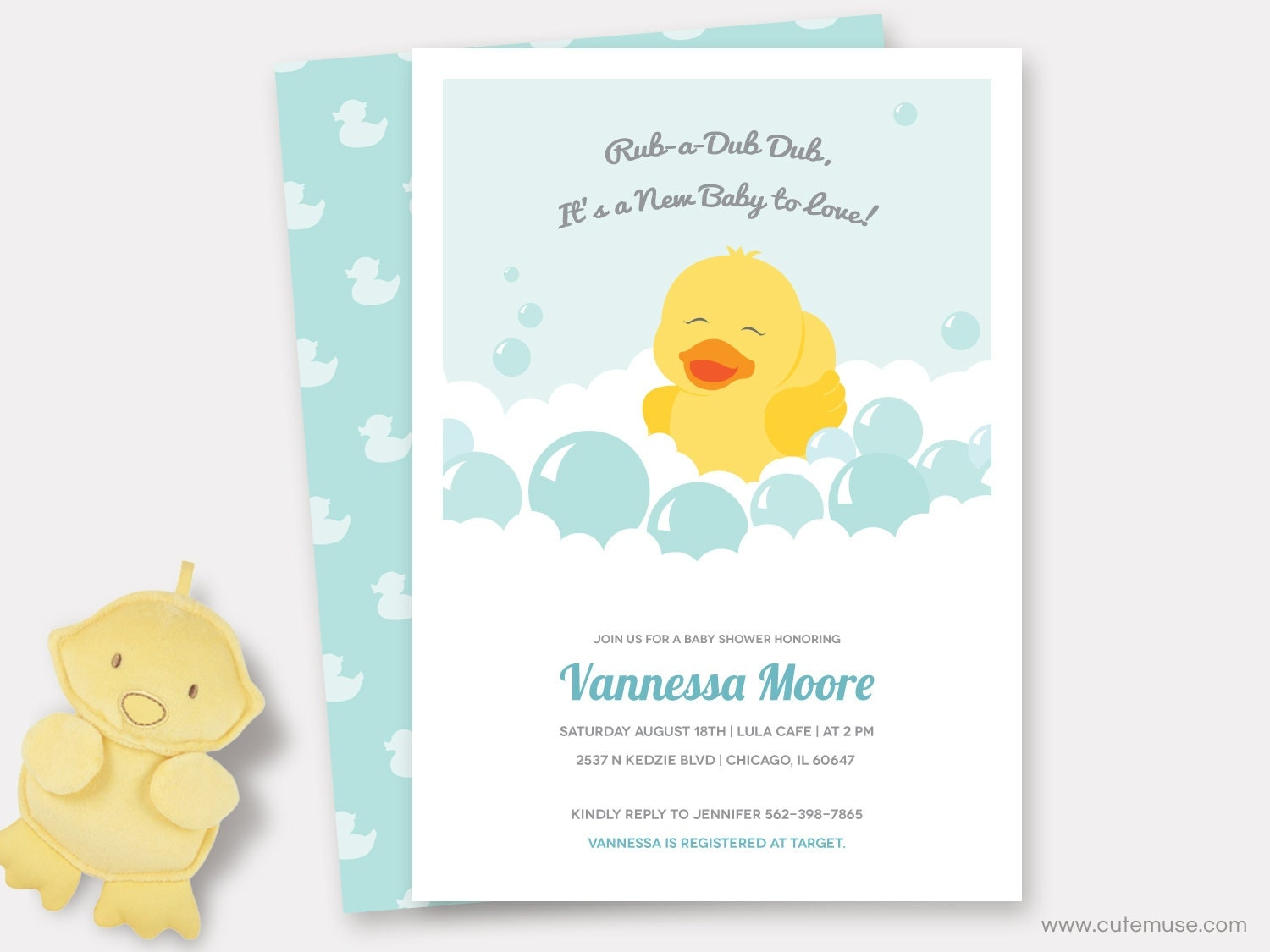 rubber duck baby shower invitation printable by cutemuseprintable
