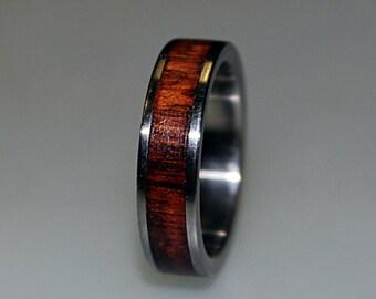 Titanium Ring With Snakewood Inlay, Wood Ring, Titanium Wedding Band, Mens Band