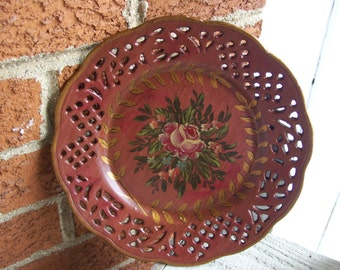 Rust Hand Painted Plate Floral