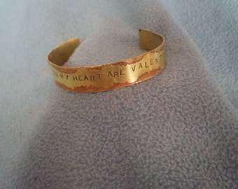 In My Heart Are Valentine's Stamped Rose Brass Bracelet