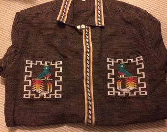 Men's vintage large 70's embroidered shirt