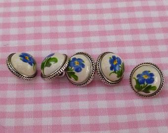 Dirndl buttons, porcelain cabochon, forget-me-not motif, 1,2 cm, 0,47 inch, Dirndl dress, romantic buttons, made in Bavaria!!