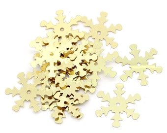 200 Gold Christmas Snowflake Sequins, Sewing ,Card Making, Scrapbooking, Decorations and other crafts. 19x17mm