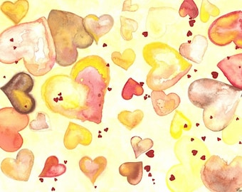 HEARTS original watercolor print