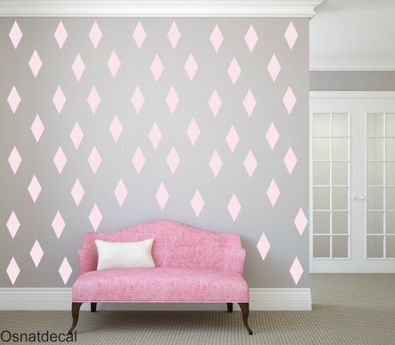 FREE SHIPPING Wall Decal Rhombus ColorPastel Pink Nursery Wall Decal. Vinyl Wall Decal. Kids Wall Decal. Home Decor.