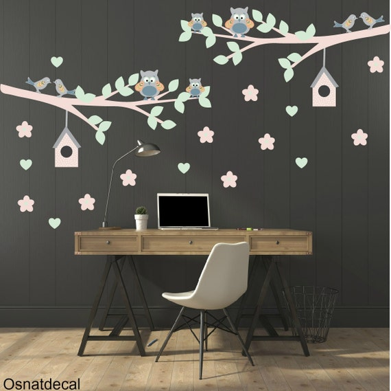 FREE SHIPPING Wall Decal Branches Owls Birds Flower Leaves Hearts & Birds Houses. Nursery Decal. Housewares. Children Wall Decal. Vinyl