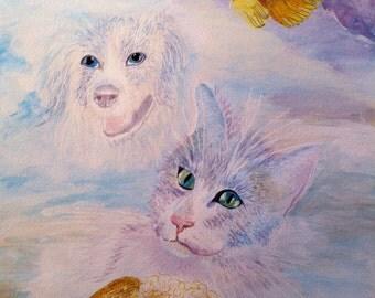 modern' paint animals acrylic on paper