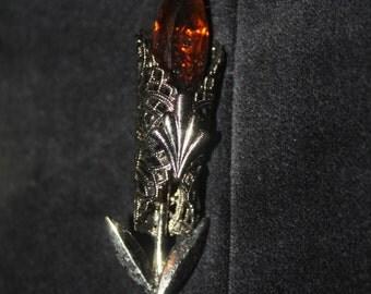beautifull silver and smoky quartz art deco broche of a stylized flower