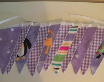 Handmade vintage look fabric lilac animal 11 flag bunting  - 3m