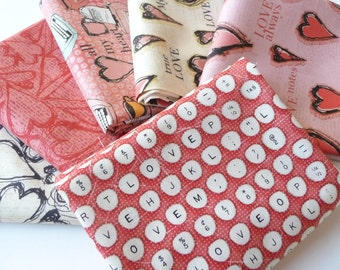Valentines Day Fat Quarter Bundle, All My Heart by Clothworks, 6 Fat Quarters, Valentine Fabric Bundle, Hearts Fat Quarter Bundle, Cotton