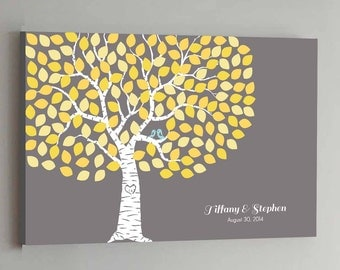 150 Guest CANVAS Wedding Guest Book Gray Tree Wedding Guestbook Alternative Guestbook CANVAS Wedding Guestbook CANVAS - Gray and Yellow