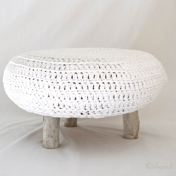 Crochet Ottoman : Unique Driftwood Crochet Ottoman Footstool Pouffe Table Home ...