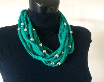 FIBER GREEN NECKLACE, cotton necklace, fabric necklace, made in Italy, hypoallergenic necklace, mothers day gift, gift idea, for her