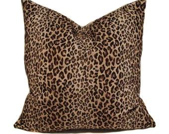 Leopard pillow cover, 18x18, Throw pillows, Animal print pillow, Brown pillow covers, Couch pillow, Sofa cushion