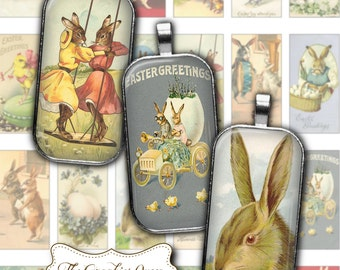 Easter Images Vintage Digital Collage Sheet 1 x 2 inch Rectangles Domino printable for pendant jewerly INSTANT DOWNLOAD