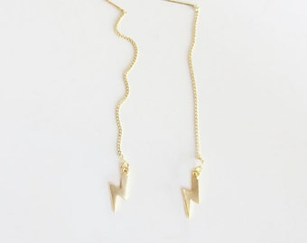 Lightening bolt threader earrings/ long chain earrings/ gold threader earrings/lightening bolt earrings